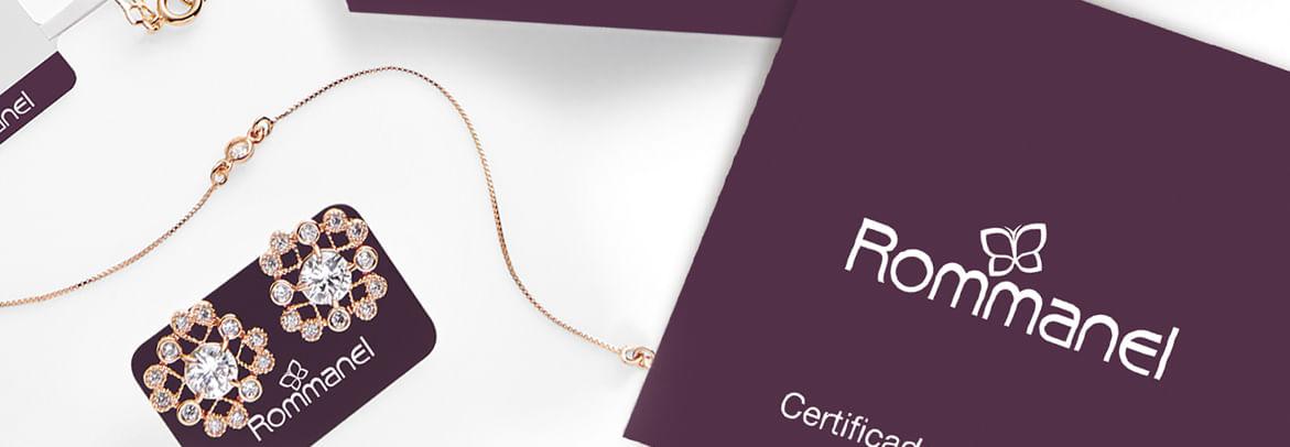 886b49c5c0d Ao comprar uma joia folheada Rommanel verifique se ela está corretamente  identificada e acompanhada da etiqueta com código de barras exclusiva e  certificado ...